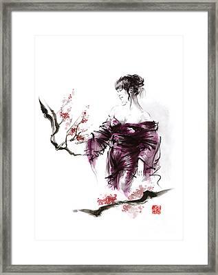 Geisha Geiko Maiko Young Girl Kimono Japanese Japan Woman Sumi-e Original Painting Cherry Blossom Sa Framed Print by Mariusz Szmerdt