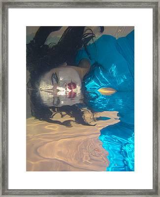 Geisha In Blue Framed Print by Scott Campbell