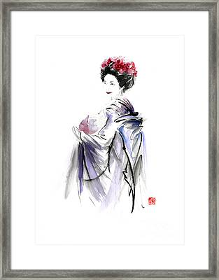 Geisha Japanese Woman In Tokyo Fresh Flowers Kimono Original Japan Painting Art Framed Print by Mariusz Szmerdt