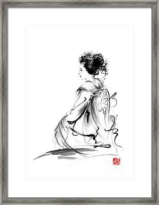 Geisha Japanese Woman In Tokyo Kimono Original Japan Painting Art Framed Print by Mariusz Szmerdt