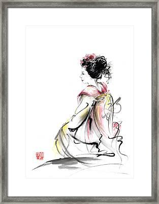 Geisha Japanese Woman Young Girl In Tokyo Kimono Fabric Design Original Japan Painting Art Framed Print by Mariusz Szmerdt