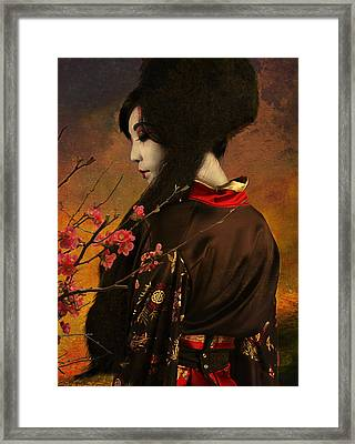 Geisha With Quince - Revised Framed Print by Jeff Burgess