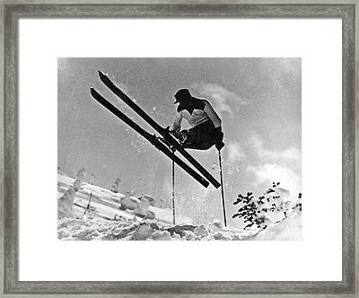 Gelandesprung In The Mountains Framed Print by Underwood Archives