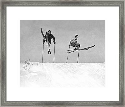 Gelandesprungs In St-sauveur Framed Print by Underwood Archives