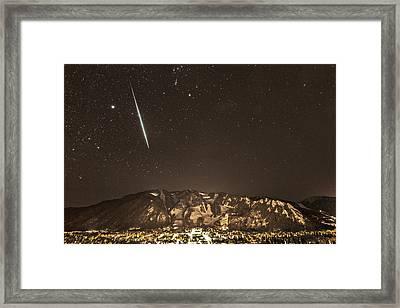 Geminid Meteor Shower Aspen Framed Print by Tom Cuccio