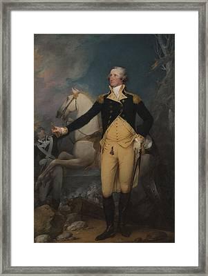 General George Washington At Trenton, 1792 Oil On Canvas Framed Print by John Trumbull
