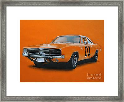General Lee Dodge Charger Framed Print by Paul Kuras