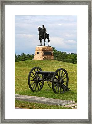 General Meade Monument And Cannon Framed Print by James Brunker