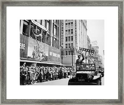 General Patton Ticker Tape Parade Framed Print by War Is Hell Store