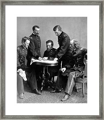 General Philip Sheridan And His Staff  Framed Print by War Is Hell Store
