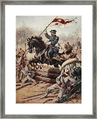 General Sheridan At The Battle Of Five Framed Print by Henry Alexander Ogden