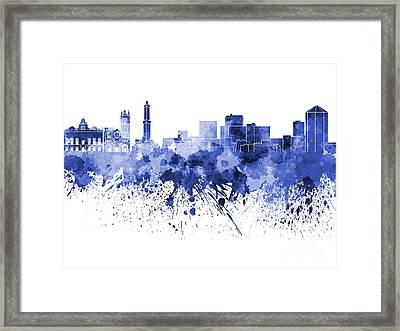 Genoa Skyline In Blue Watercolor On White Background Framed Print by Pablo Romero