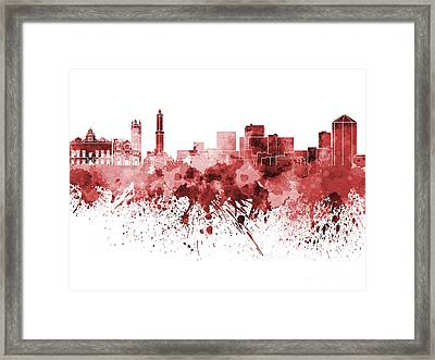Genoa Skyline In Red Watercolor On White Background Framed Print by Pablo Romero