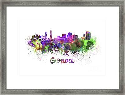Genoa Skyline In Watercolor Framed Print by Pablo Romero