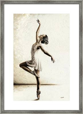 White Dress Framed Print featuring the painting Genteel Dancer by Richard Young