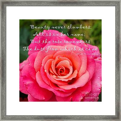 Gentle Rose Always Remembers - Rose - Quote Framed Print by Barbara Griffin