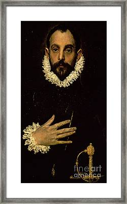 Gentleman With His Hand On His Chest Framed Print by El Greco Domenico Theotocopuli