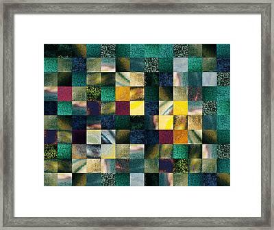 Geometric Abstract Design Forest Lights Framed Print by Irina Sztukowski