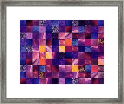 Geometric Abstract Design Purple Meadow Framed Print by Irina Sztukowski