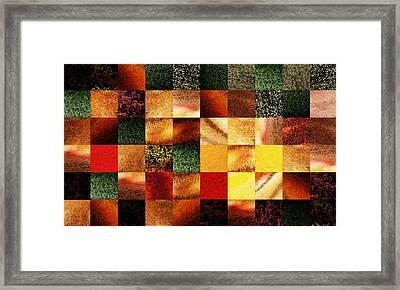 Geometric Abstract Design Sunset Squares Framed Print by Irina Sztukowski