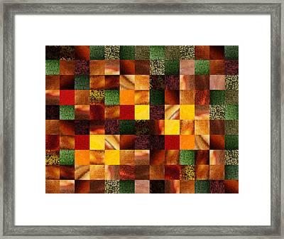 Geometric Abstract Quilted Meadow Framed Print by Irina Sztukowski