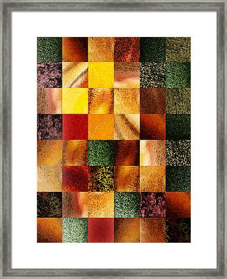 Geometric Design Squares Pattern Abstract I  Framed Print by Irina Sztukowski