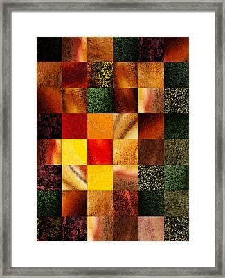 Geometric Design Squares Pattern Abstract II Framed Print by Irina Sztukowski