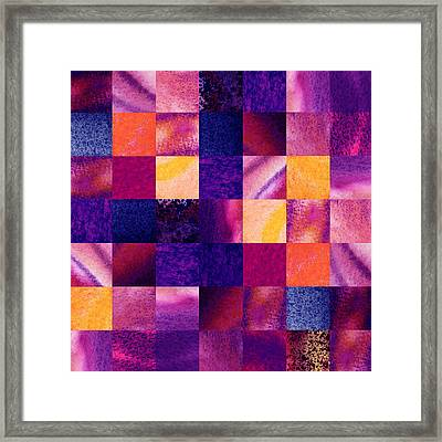 Geometric Design Squares Pattern Abstract Iv Framed Print by Irina Sztukowski
