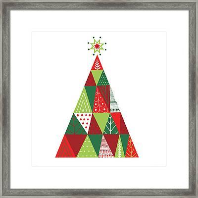 Geometric Holiday Trees I Framed Print by Michael Mullan