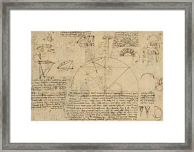 Geometrical Study About Transformation From Rectilinear To Curved Surfaces And Vice Versa From Atlan Framed Print by Leonardo Da Vinci
