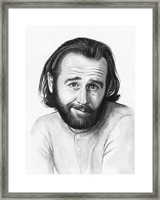 George Carlin Portrait Framed Print by Olga Shvartsur