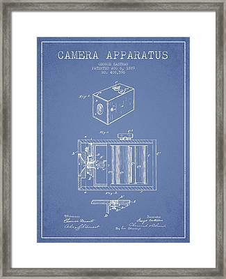 George Eastman Camera Apparatus Patent From 1889 - Light Blue Framed Print by Aged Pixel