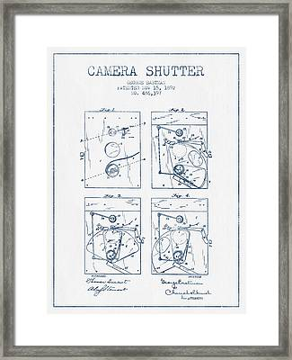 George Eastman Camera Shutter Patent From 1892 - Blue Ink Framed Print by Aged Pixel