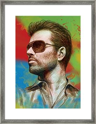 George Michael Stylised Pop Morden Art Drawing Sketch Portrait Framed Print by Kim Wang