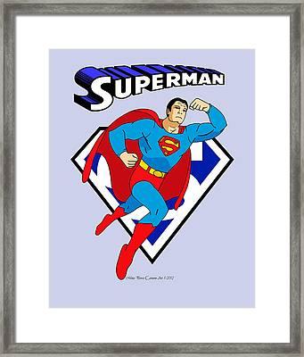 George Reeves Superman Framed Print by Mista Perez Cartoon Art