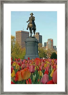 George Washington At The Boston Public Garden Framed Print by Juergen Roth
