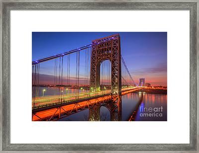 George Washington Bridge Morning Twilight I Framed Print by Clarence Holmes