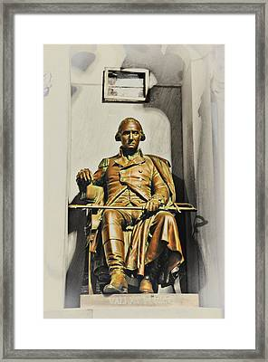 George Washington Statue At Valley Forge Chapel Framed Print by Bill Cannon