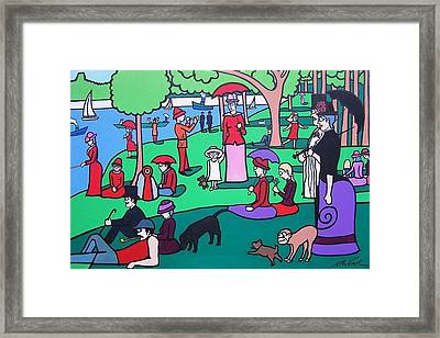 George Seurat- A Cyclops Sunday Afternoon On The Island Of La Grande Jatte Framed Print by Thomas Valentine