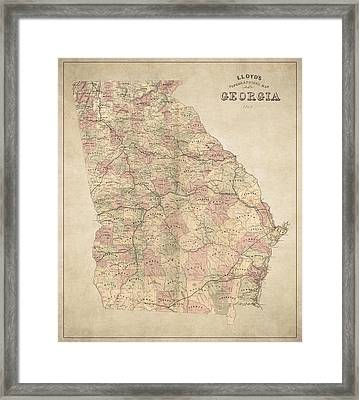 Georgia Map Art - Vintage Antique Map Of Georgia Framed Print by World Art Prints And Designs