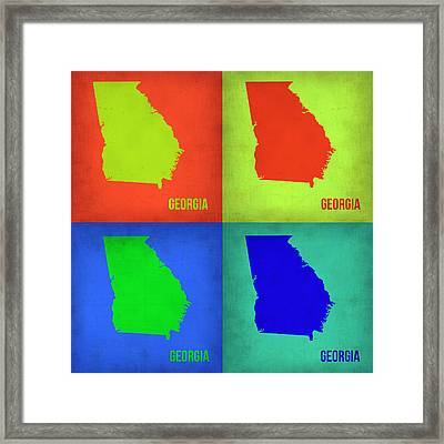 Georgia Pop Art Map 1 Framed Print by Naxart Studio