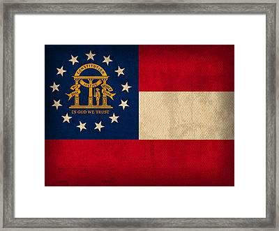 Georgia State Flag Art On Worn Canvas Framed Print by Design Turnpike