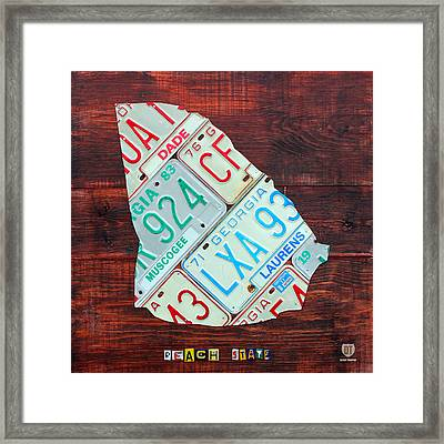 Georgia The Peach State License Plate Map On Fruitwood Framed Print by Design Turnpike