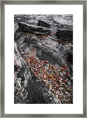 Georgian Bay Rocks Abstract I Framed Print by Elena Elisseeva