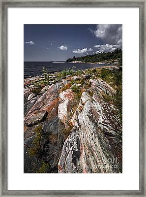 Georgian Bay Rocks Framed Print by Elena Elisseeva