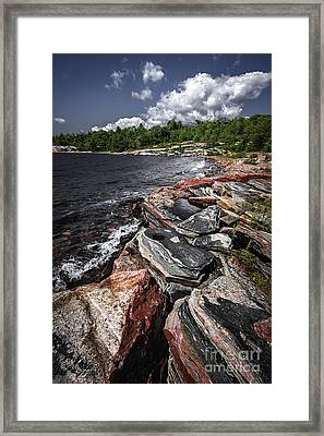 Georgian Bay Rocks I Framed Print by Elena Elisseeva