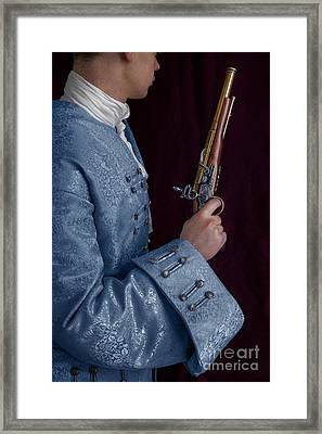 Georgian Man Holding A Flintlock Pistol Framed Print by Lee Avison