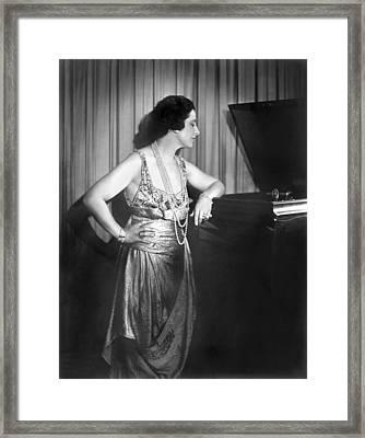 Geraldine Farrar Listening Framed Print by Underwood Archives