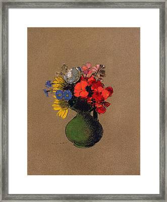 Geraniums And Flowers Of The Field Framed Print by Odilon Redon
