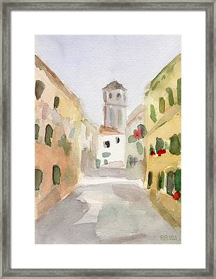 Geraniums Cannaregio Watercolor Painting Of Venice Italy Framed Print by Beverly Brown Prints